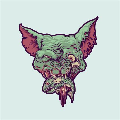 Vampire Head Cat Eat Fish illustrations for your work merchandise clothing line, stickers and poster, greeting cards advertising business company or brands