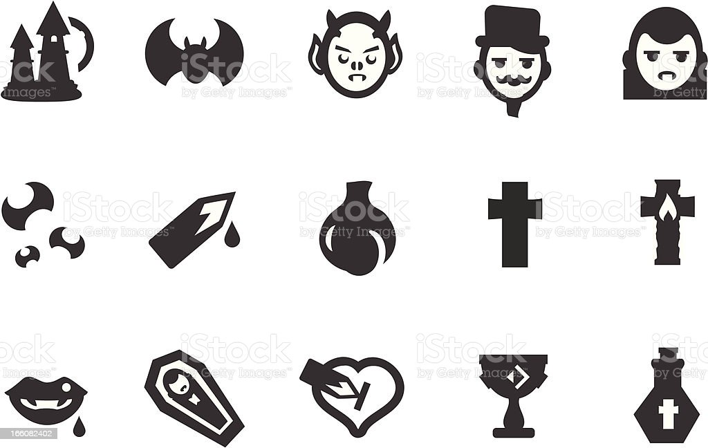 Vampire Icon Set vector art illustration
