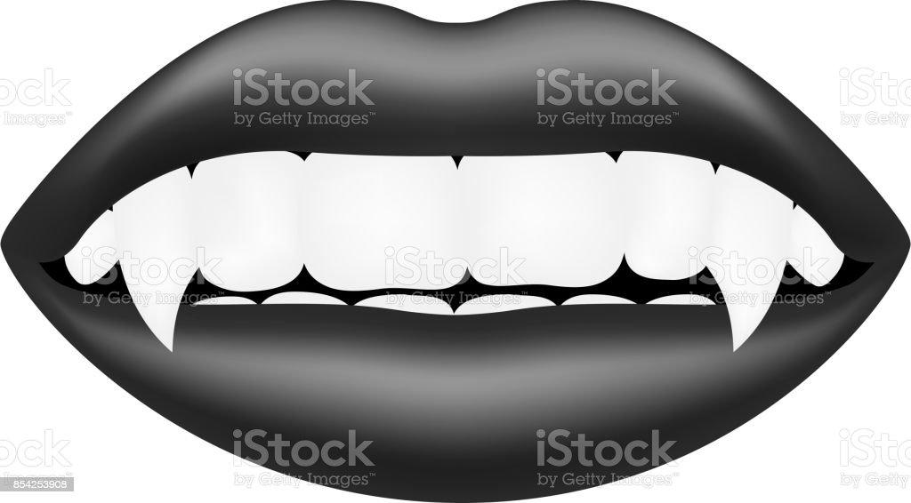 Vampire mouth in dark design vector art illustration