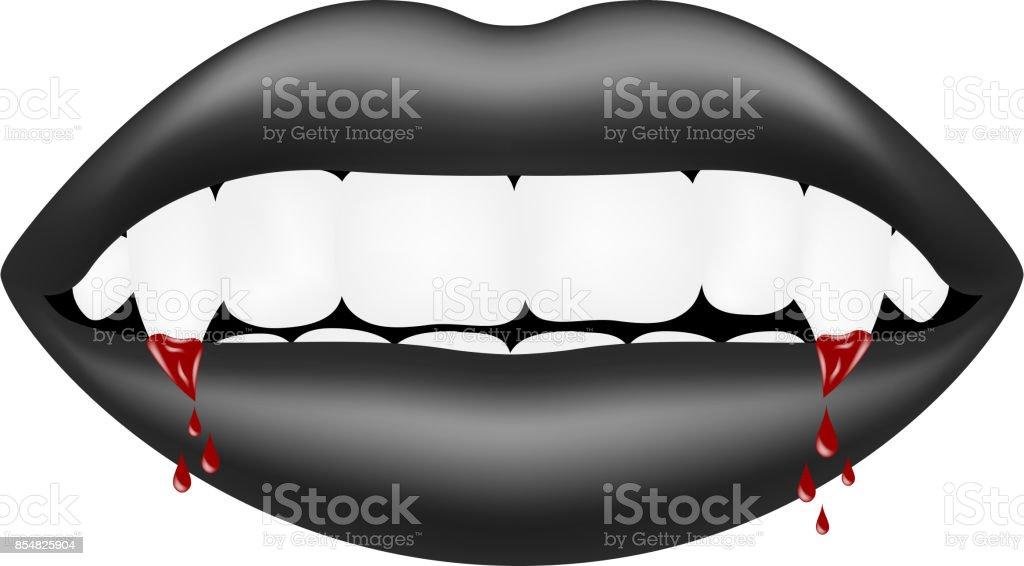 Vampire mouth in dark design with bloody teeth vector art illustration