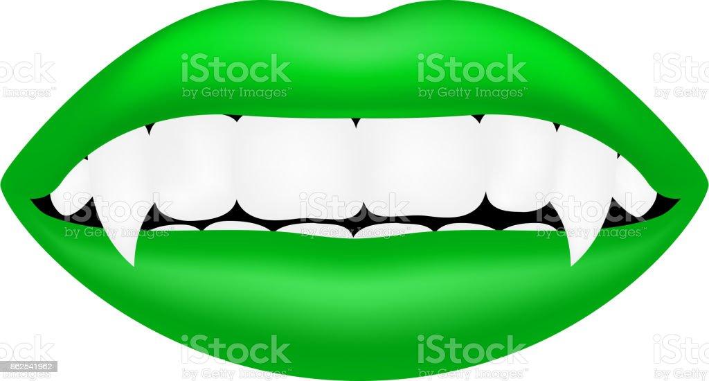 Vampire mouth in green design vector art illustration
