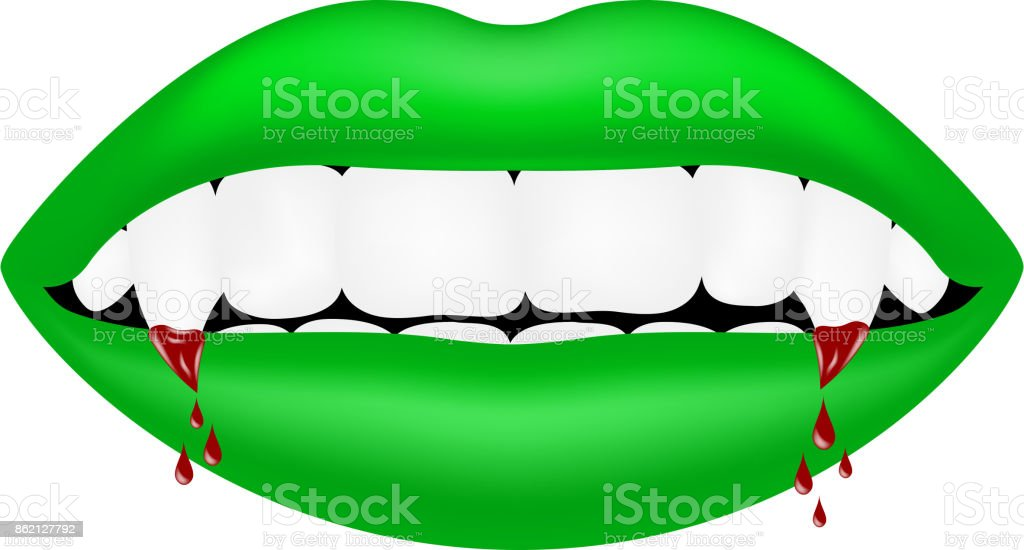 Vampire mouth in green design with bloody teeth vector art illustration