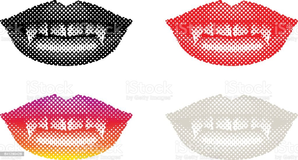Vampire Mouth with Fangs vector art illustration