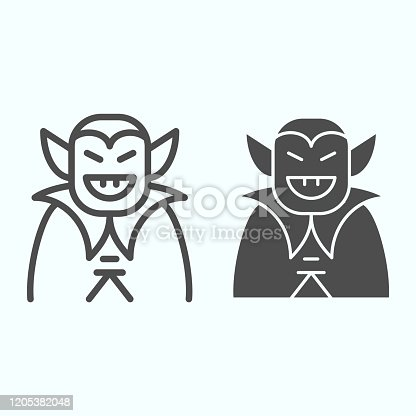 istock Vampire person line and solid icon. Dracula monster in a coat. Halloween vector design concept, outline style pictogram on white background, use for web and app. Eps 10. 1205382048