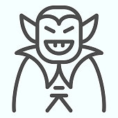 Vampire person line icon. Dracula monster in a coat. Halloween vector design concept, outline style pictogram on white background, use for web and app. Eps 10