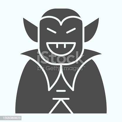istock Vampire person solid icon. Dracula monster in a coat. Halloween vector design concept, glyph style pictogram on white background, use for web and app. Eps 10. 1205385823