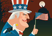 vampire uncle sam waving USA flag