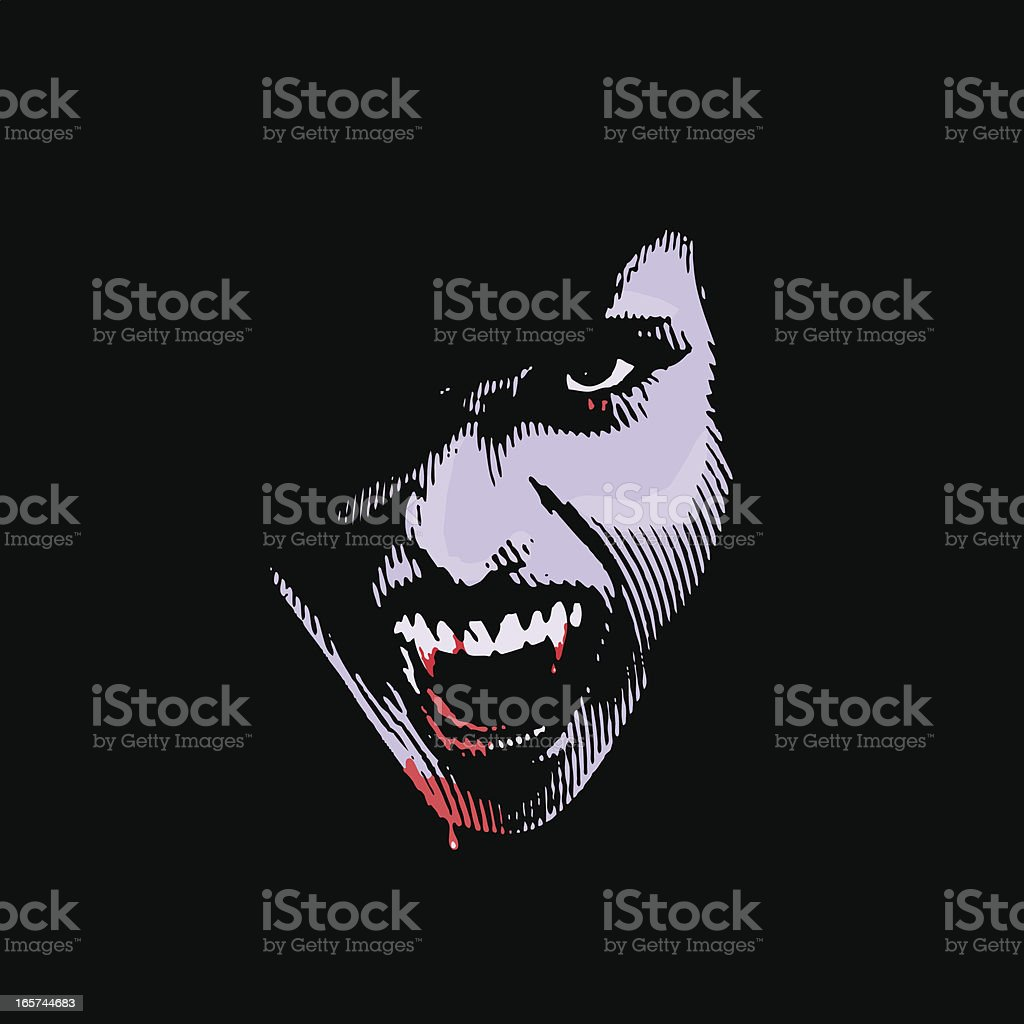 Vampire With Bloody Fangs vector art illustration