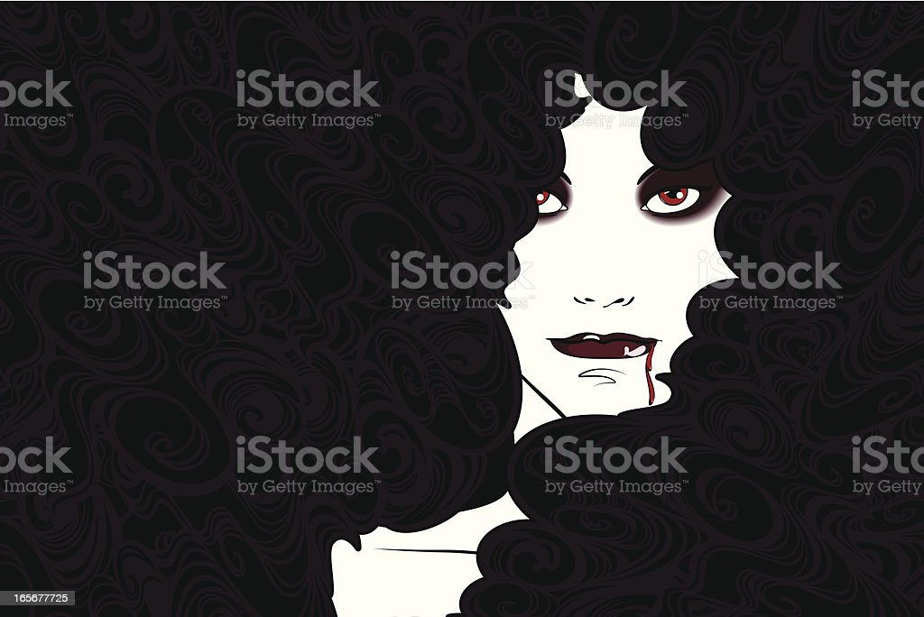 Vampire Woman vector art illustration