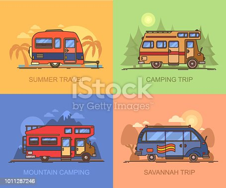 Set of auto transport for holiday recreation or vacation. Van for savannah trip. Lorry, truck for mountain camping. Campervan for wood adventure. Recreational vehicle for summertime