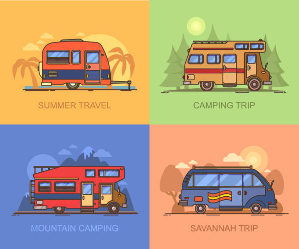 stockillustraties, clipart, cartoons en iconen met van en truck voor reizen, recreatief voertuig - caravan