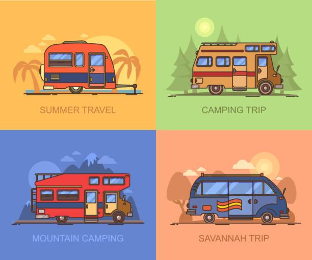 van and truck for travels, recreational vehicle - caravan stock illustrations