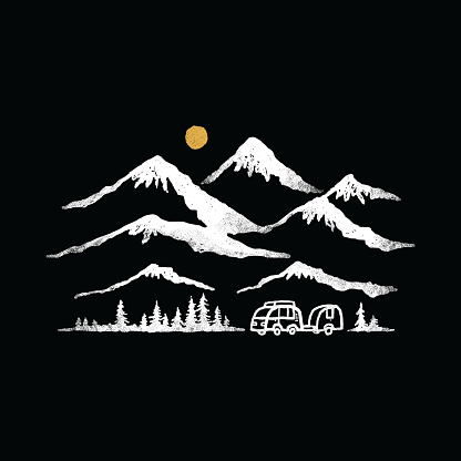 Van camping nature wild badge patch pin graphic illustration vector art t-shirt design