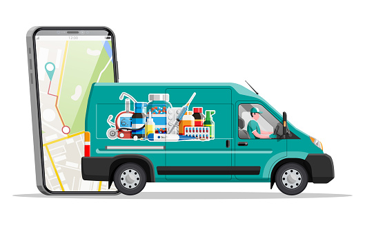 Van for delivery drugs and smartphone