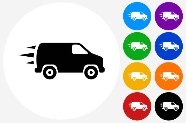 Van Icon on Flat Color Circle Buttons vector art illustration