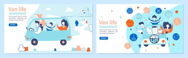 van life bewegung hand gezeichnet landing page vorlagen set - tour bus stock-grafiken, -clipart, -cartoons und -symbole