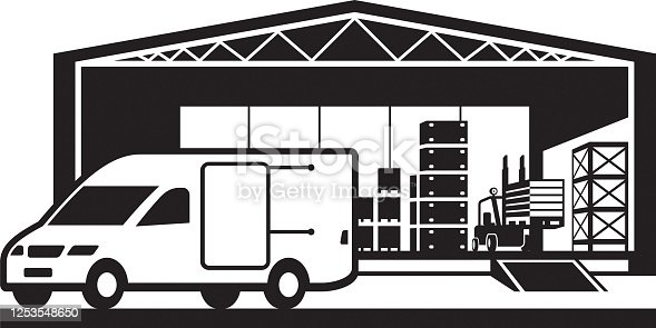 Van loading goods in distribution warehouse – vector illustration