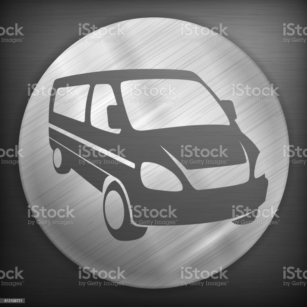 Van round sign vector art illustration