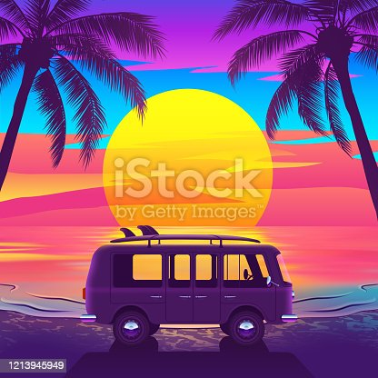 istock Van with Surfboard on Beautiful Tropical Beach with Palm Trees and Sunset 1213945949