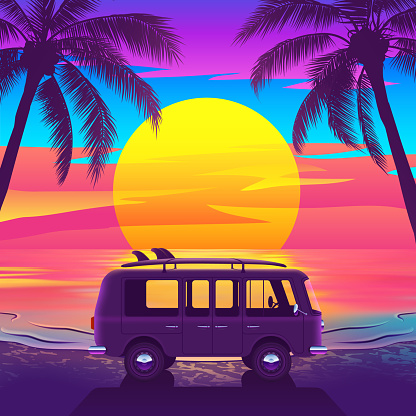 Tropical beach with a van and palm trees at a beautiful sunset in bright colors. Van with surfboard on beautiful Tropical Beach. Vector illustration.