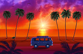 istock Van with Surfboard on Beautiful Tropical Beach with Palm Trees and Sunset 1314936085