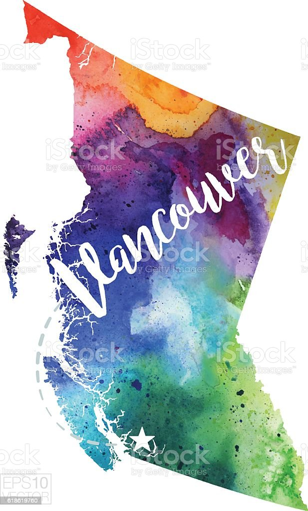 Vancouver, British Columbia Vector Watercolor Map vector art illustration