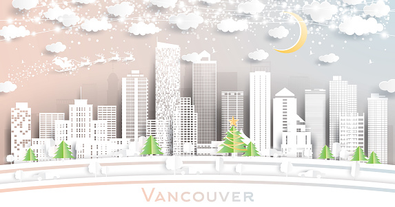 Vancouver Canada City Skyline in Paper Cut Style with Snowflakes, Moon and Neon Garland.