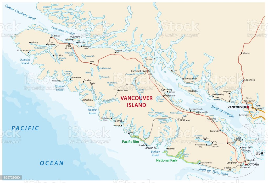 Vancouver island road map vector art illustration