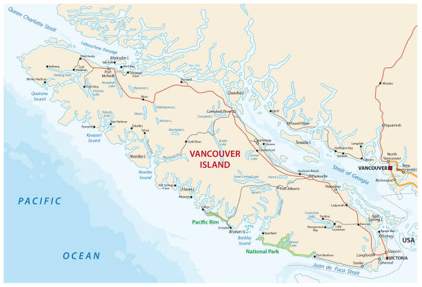 Vancouver island road map Vancouver island road vector map british columbia stock illustrations