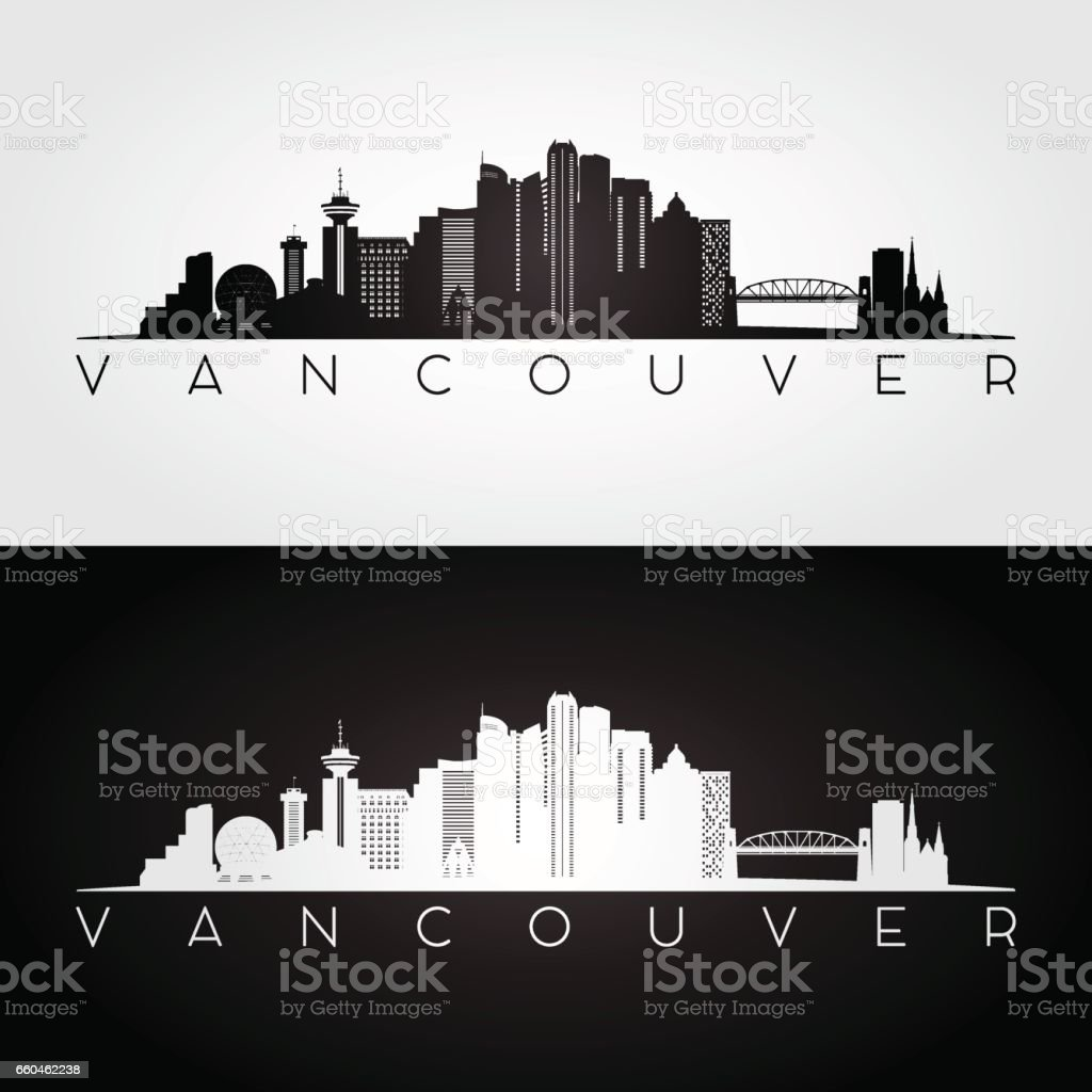 Vancouver skyline and landmarks silhouette vector art illustration
