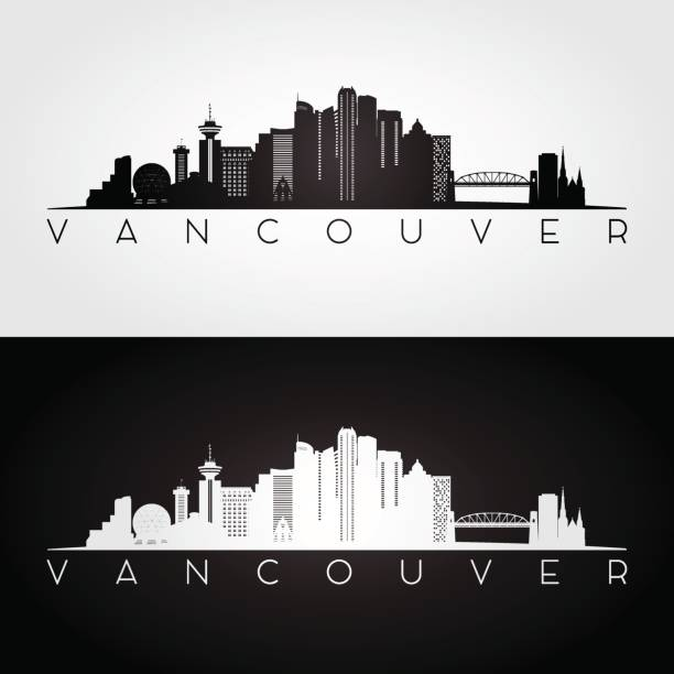 Vancouver skyline and landmarks silhouette Vancouver skyline and landmarks silhouette, black and white design, vector illustration. british columbia stock illustrations