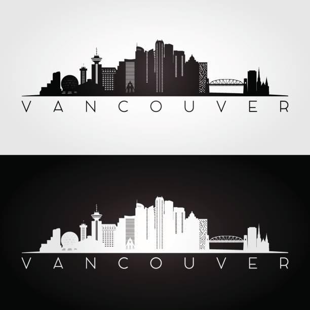 Vancouver skyline and landmarks silhouette vector art illustration
