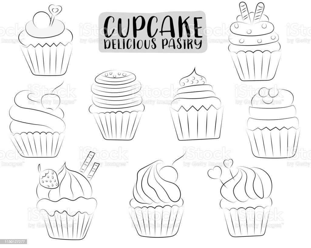 Vanille Et Chocolat Cupcakes Mignons Ensemble Dessiné à La