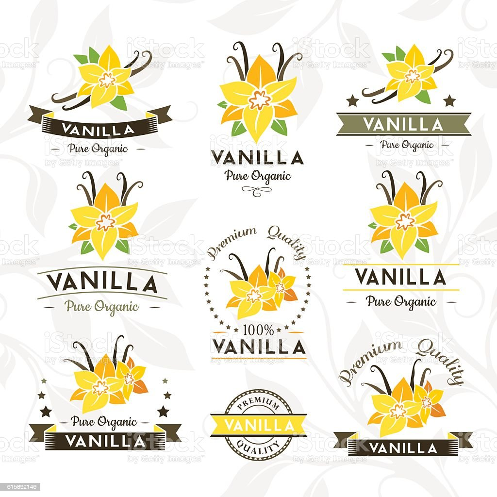 Vanilla Badges and labels, emblems collection. vector art illustration