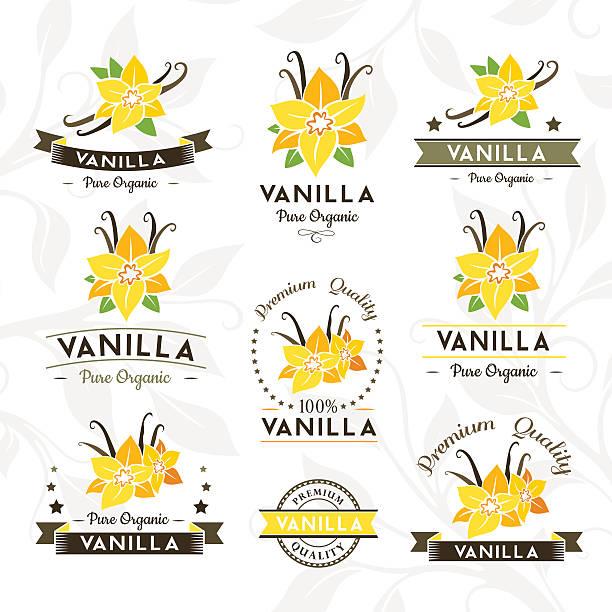 stockillustraties, clipart, cartoons en iconen met vanilla badges and labels, emblems collection. - vanille