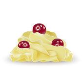 Vanilla banana lemon whipped cream for ice cream, yogurt, cupcake, cake. Cranberry on top. Detailed 3d Illustration Isolated On White. Design Element For Web Or Print Packaging. Vector Illustration.
