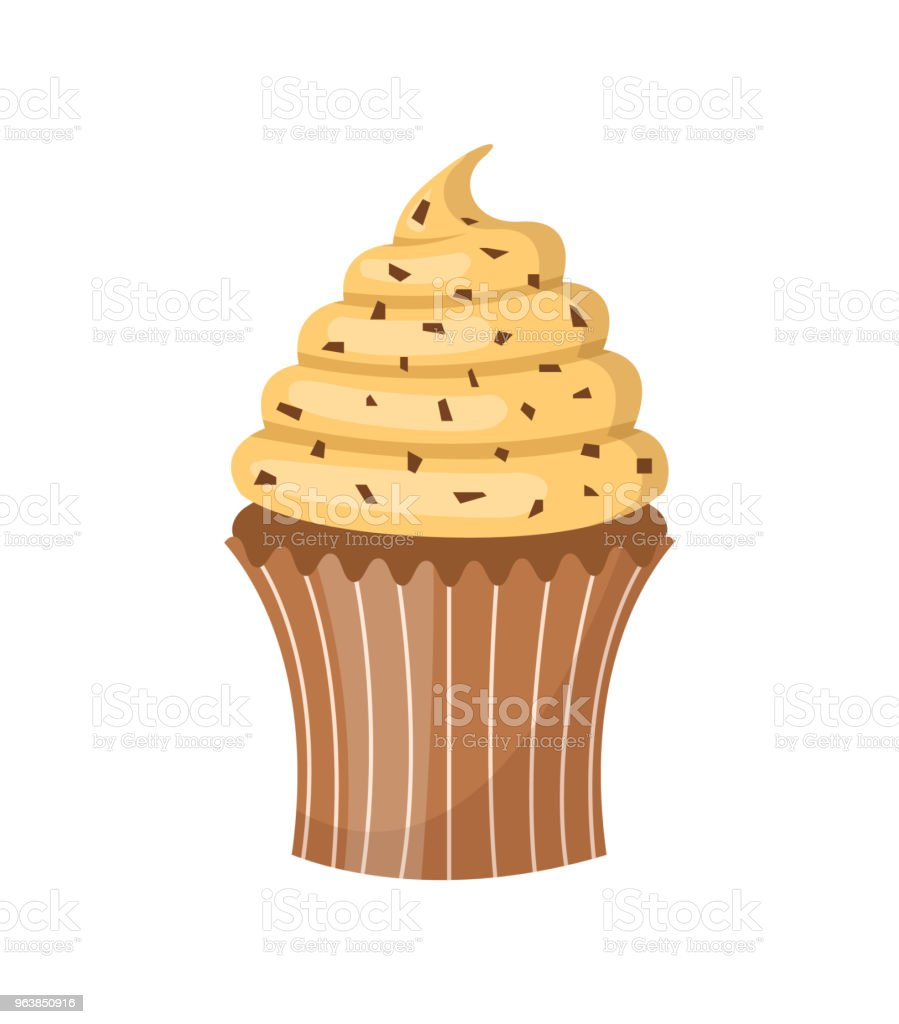 Vanilla cupcake with sprinkles. Isolated on white background. Vector illustration. - Royalty-free Baked Pastry Item stock vector