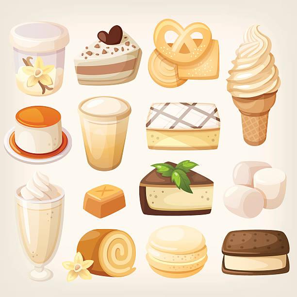 stockillustraties, clipart, cartoons en iconen met vanilla desserts - vanille roomijs
