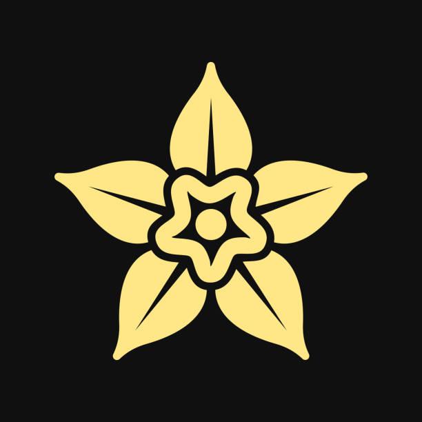 stockillustraties, clipart, cartoons en iconen met vanille bloem icoon op witte achtergrond. vector logo - vanille