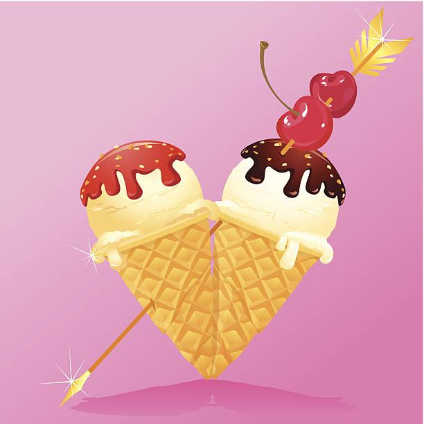 ilustrações de stock, clip art, desenhos animados e ícones de cones de gelado de baunilha com chocolate em forma de coração glaze - lian empty