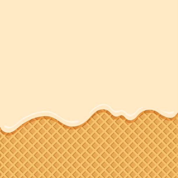 stockillustraties, clipart, cartoons en iconen met vanille-ijs stroomt naar beneden op wafer achtergrond. vector - vanille roomijs