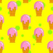 Vanilla ice cream seamless pattern. Cold milk pink dessert. Strawberry ice-cream in waffle Cup. Cute baby background fabric.