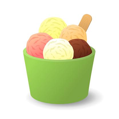Vanilla, sunday, chocolate and strawberry ice cream in a bucket.