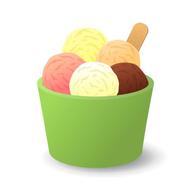 Vanilla, sunday, chocolate and strawberry ice cream in a bucket. Ice cream  in a bucket. Vanilla, sunday, chocolate and strawberry ice cream. Isolated background. Vector illustration bowl of ice cream stock illustrations