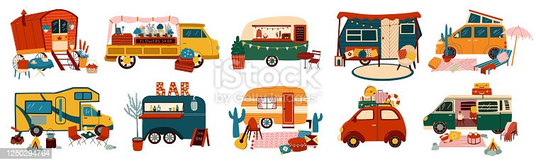 Vans and trailers vehicles set of travel caravans for camper, vintage summer trucks transport for tourism and hiking vacations adventure isolated vector illustrations. Retro car vans, campsite.