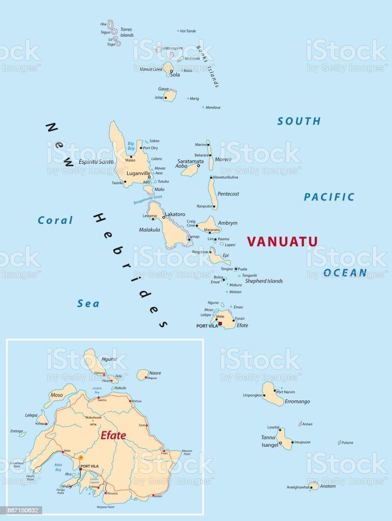 Vanuatu Map Stock Vector Art More Images of Archipelago 867150632