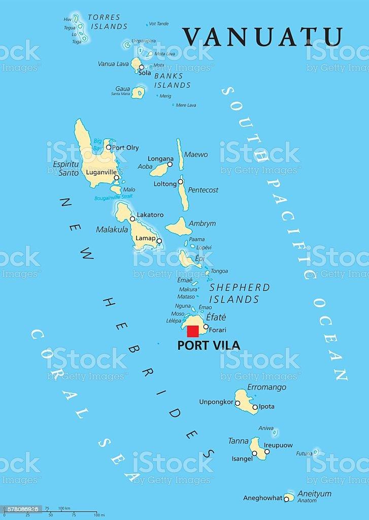 Ilustracion De Vanuatu Political Map Y Mas Vectores Libres