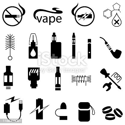 E-cigarette and vaping products icons. Single color. Isolated.