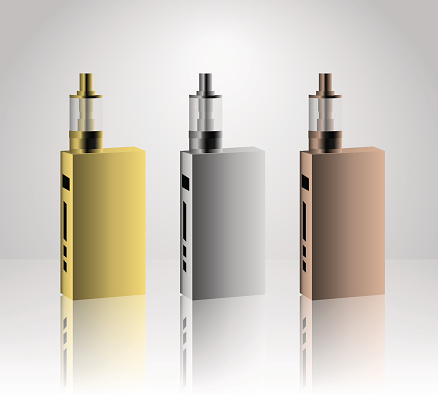 Vape device gold, silver and bronze vector set. trend new culture. smoking. Vape vector sign.