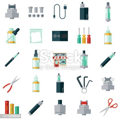 A set of flat design vape shop icons. File is built in the CMYK color space for optimal printing. Color swatches are global so it's easy to edit and change the colors.